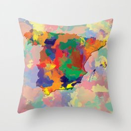 Spain, Outline, Map Throw Pillow