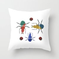 insects Throw Pillows featuring playful insects by Lydia Coventry