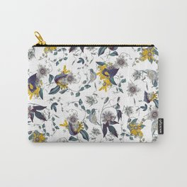 White Garden. Floral Pattern. Yellow Flowers. Carry-All Pouch