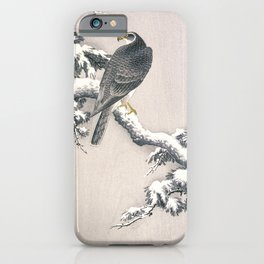 Goshawk on Snow-covered Pine Bough by Ohara Koson (1877-1945) iPhone Case
