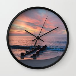 cotton candy beach sky Wall Clock