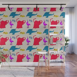 Elephant Print on Neutral Background Wall Mural