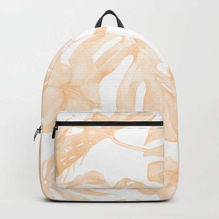 Island Vacation Hibiscus Palm Leaf Coral Apricot Orange Backpack