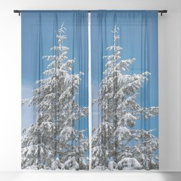 Winter Forest Fir Tree Snow IX - Nature Photography Sheer Curtain