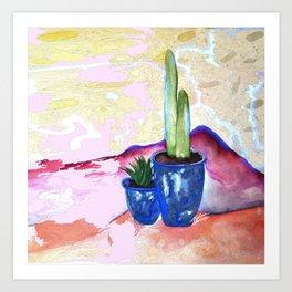 Porch Cactus Vibes - Watercolor Painting Mixed Media Art Print