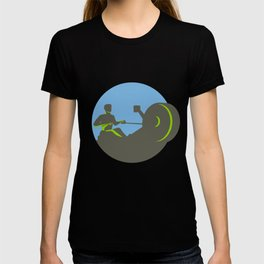 Rower Rowing Machine Circle Retro T-shirt