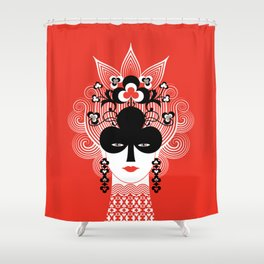 The Queen of clubs Shower Curtain