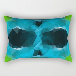 psychedelic skull art geometric triangle abstract pattern in blue and green Rectangular Pillow