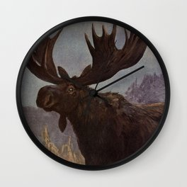 Vintage Moose Painting (1909) Wall Clock