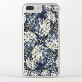 Denim Blue Smoky Gray Flower Garden Clear iPhone Case