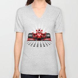 Formula 1 Red Race Car Unisex V-Neck
