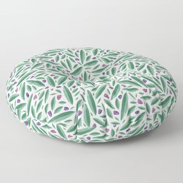 Olive leaves and tiny rainbows Floor Pillow