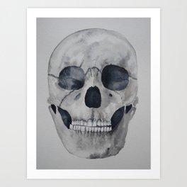 Human skull watercolour Art Print