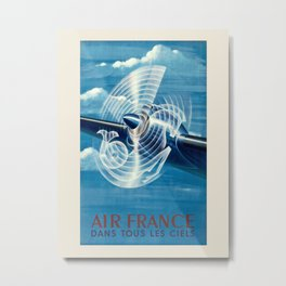 Air France. Vintage travel advertising poster DANS TOUS LES CIELS. Atelier Perceval, 1948. Metal Print