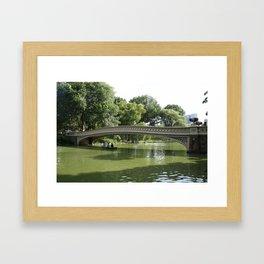 Bow Bridge And Rowboat NYC Framed Art Print