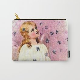 Vintage Angel Violet Flowers Carry-All Pouch