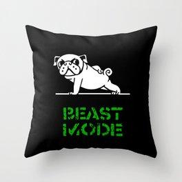 Beast Mode Pug Throw Pillow