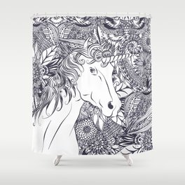 Whimsy unicorn and floral mandala design Shower Curtain