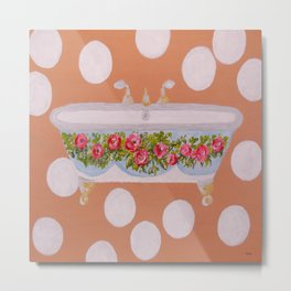 Circles and Suds Bathroom Art Metal Print
