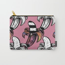 Pink Coral Groovy Banana Outlined Print Tropical Pattern Carry-All Pouch