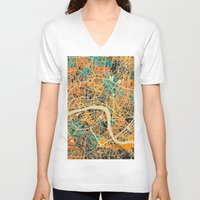 london map V-neck T-shirts featuring London Mosaic Map #3 by Map Map Maps