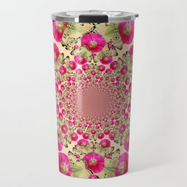 modern art cerise pink hollyhock & yellow butterflies Travel Mug