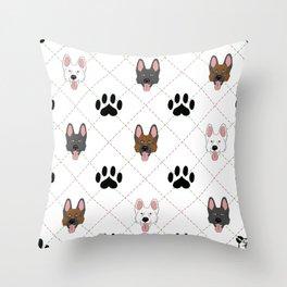3 German Shepherd Colors Paw Print Pattern Throw Pillow