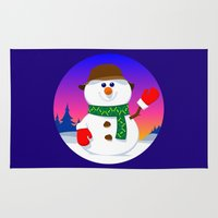 snowman Area & Throw Rugs featuring SnowMan by tuditees
