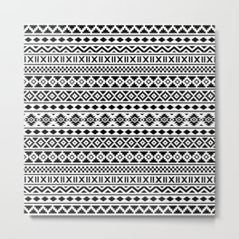 Aztec Essence Pattern Black on White Metal Print