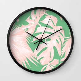 Island Love Seashell Pink + Green Wall Clock