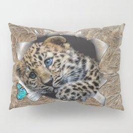 Baby Leopard & Blue Butterfly Pillow Sham