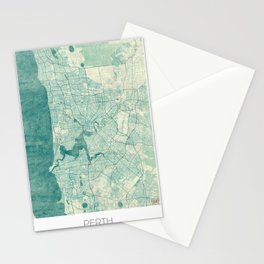 Perth Map Blue Vintage Stationery Cards