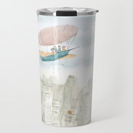 Dirigible over NY city Travel Mug