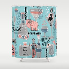 Prohibition Era, Cocktails, Anyone? Shower Curtain