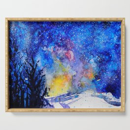 Midnight Galaxy Road watercolour by CheyAnne Sexton Serving Tray