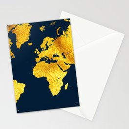 Royal Blue and Gold Map of The World - World Map for your walls Stationery Cards