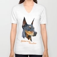 doberman V-neck T-shirts featuring Doberman by Det Tidkun