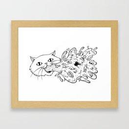 Cat Trash Barf Framed Art Print