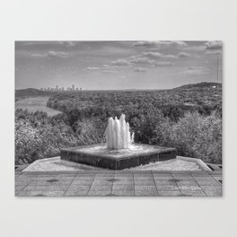 Down By The Waters Edge  - Black And White Canvas Print