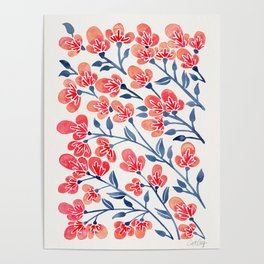 Cherry Blossoms – Melon & Navy Palette Poster