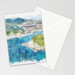 Aquarelle sketch art. Aerial view of San Sebastian and Santa Clara Island, Donostia, Spain on a beautiful summer day. Stationery Cards