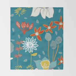 Happy Flowers Collection Throw Blanket