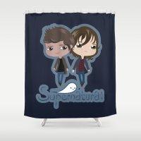 supernatural Shower Curtains featuring Supernatural by Alex Mathews