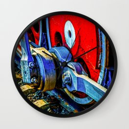 Old Steam Locomotive Eccentric And Red Wheels Of Iron Wall Clock