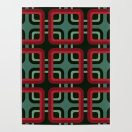 Geometric Pattern #69 (red & turquoise 1970s) Poster