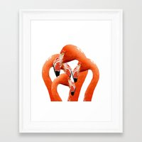 flamingos Framed Art Prints featuring Flamingos by Regan's World