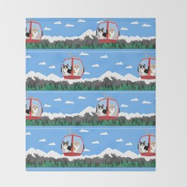 Gondola corgis telluride ski slopes custom dog Throw Blanket