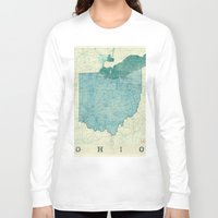 ohio state Long Sleeve T-shirts featuring Ohio State Map Blue Vintage by City Art Posters