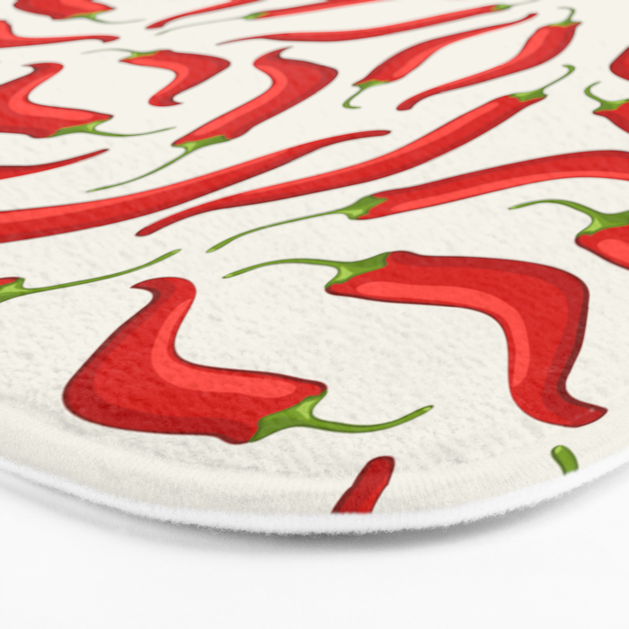 Hot red chili pepper pattern Bath Mat