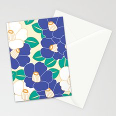 Japanese Style Camellia - Blue and White Stationery Cards
